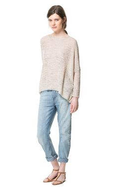 Image 1 of RELAXED FIT JEANS from Zara + sweater