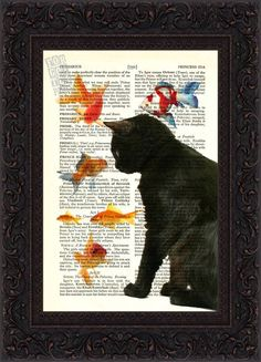 Cat Lover Print  Black Cat with Goldfish Print on repurposed vintage page Book Art Print Mixed Media. $8.00, via Etsy.