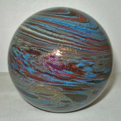 Incredible LUNDBERG Iridescent PAPERWEIGHT Mind Blowing GLASS Signed NEW in BOX