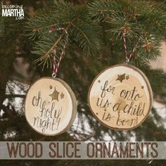 I almost couldn't pin it because of the misspelled word, but I do like the idea. Wood Slice Christmas Ornaments - Becoming Martha