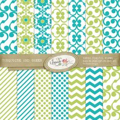 Download Turquoise and Green Digital Papers