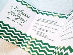 """The newly released """"Rebecca Suite!"""" By Nicola Black Design, LLC custom wedding invitations.   Tri-fold wedding invitation with a convenient perforated RSVP. Colors customized to your wedding colors. #Chevron #wedding #invitations"""