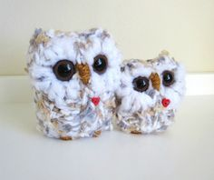 Knitted Owls Plush Animal Pair mother and baby love by WoodsyWools