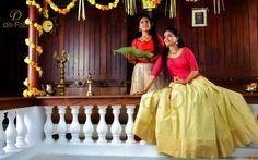 Kerala Engagement Dress, Engagement Dresses, Wedding Dresses, Churidar Designs, Pink Saree, Saree Dress, Half Saree, Long Blouse, Indian Designer Wear