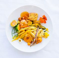 Yellow Salad with Citrus-Date Vinaigrette - 6 Delicious Seasonal Ingredients to Use This September via Vegetarian Recipes, Cooking Recipes, Healthy Recipes, Yummy Recipes, Bon Appetit, Apricot Recipes, Healthy Snacks, Healthy Eating, Clean Eating
