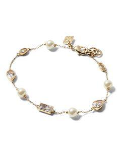 Banana Republic Womens Pearl And Bezel Stone Bracelet Gold Size One
