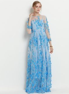 Elegant Lace Embroidery Perspective Maxi Dress