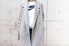 winter coat jacket trench coat grey wool blend wool, pockets tweed jacket fall coat wool nike boyfriend coat coat white sweater jumper minimalistic simple streetwear sweater