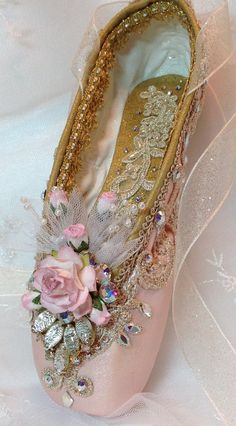 f9d070fab87e OOAK Pink and Gold Sugarplum Fairy Pointe shoe with vintage jewel.  Nutcracker Ballet Gifts. Aurora. Sleeping Beauty Ballet. Ready to Ship