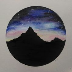 Watercolour by Ayla Paul, mountains with sunset and stars in the night sky.