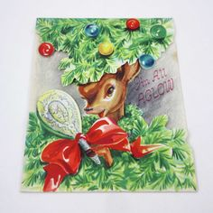 Vintage Reindeer Christmas Greeting Card with by grandmothersattic
