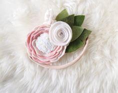 Items similar to Felt flower headband // blush white ivory mini crown // baker blossoms on Etsy Felt Headband, Headbands, Felt Flowers, Fabric Flowers, Felt Hair Clips, Felt Bows, Hair Creations, Crown Hairstyles, Flower Making