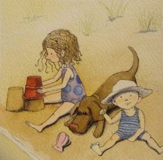 watercolor beach Illustrations | ... on the beach watercolor, pen and ink original illustration 5/4/12