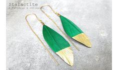 Stalactite boucles plume verte Squaw  #stalactite #earrings #green
