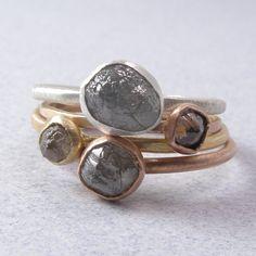 Rough Diamond Stacking Rings RESERVED by PriyankaSodhi on Etsy