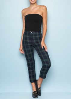Brandy Melville green plaid Tilden Pants