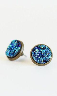 Blue Faux Druzy Post Earrings