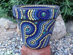 Mosaic Flower Pot/Planter  Chartreuse and Blue by MosaicsByJoan, $90.00