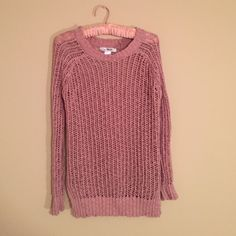 Pink Sweater Cutely wholes sweater with a small slit at the side. ☺️ Sweaters Crew & Scoop Necks