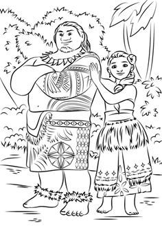 Tui and Sina from Moana Coloring page