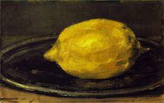 """Edouard Manet ~ The Lemon, 1880  """"tout ceci est magnifique: Elle a l'air d'avoir été sculptée dans un citron de sorte que quand elle se presse l'esprit le citron s'entrouvre au-dessous du nez et les paroles qui coulent sont acidulées.""""  Sacha Guitry"""