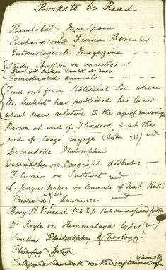"""""""Books To Be Read,"""" from Charles Darwin's Notebook.  Click through for more pages from famous people's journals. #Interesting"""