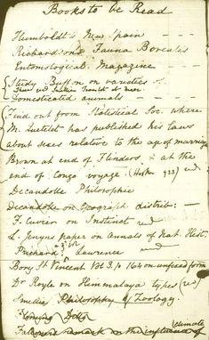 Charles Darwin's reading list