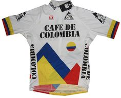 Classic cafe de colombia bike jersey! Cycling Jerseys, Cycling Art, Bike Rider, Cycling Outfit, Jersey Shirt, Bicycle, Coffee Shops, Mens Tops, How To Wear