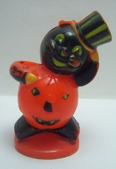 Vintage Halloween Candy Container ~ Rosbro Pumpkin Cat w/ Top Hat