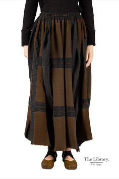 Wang - is art @ the library 1994 skirt by Uma Wang in and The Gail skirt is crafted from a blend, and features an elasticated waist and subtle side pockets. Chelsea London, Wearable Art, Capri, Pockets, Tie, Boutique, Brown, Coat, Check