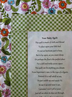 Custom Quilt Labels on Etsy for $25.00.The thought, care and emotions that go into making a quilt can be expressed on a label and touch hearts forever. Give your quilts the distinction they deserve.