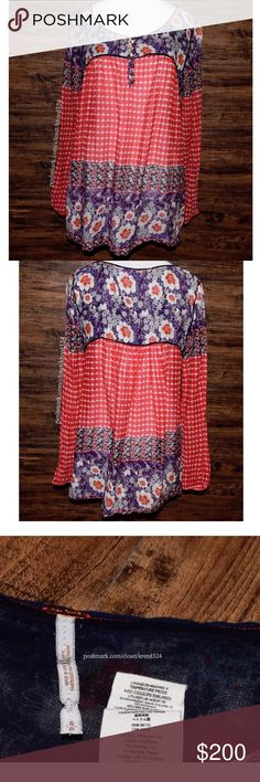 FREE PEOPLE Classic Top Patterned Bohemian Blouse Condition: Great, light fabric wear. MSRP: $98.00 + tax. Size: Small.  • Printed peasant blouse with partial button-down neckline. • Long sleeves include elasticized cuffs. • Muted patchwork floral detailing. • Unlined, breezy silhouette. • Slip pocket at each side. • No rips, stains or holes.  • Measurements provided in comment(s) section below.  {Southern Girl Fashion - Closet Policy}  ✔️ Same-Business-Day Shipping (10am CT). ✔️ Price…
