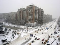communist bloc buildings in snowy bucuresti. True Beauty, Romania, New York Skyline, Country, Architecture, Photography, Travel, Outdoor, Buildings