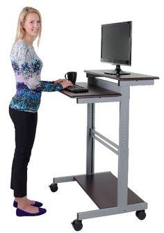 Mobiler ergonomischer Stand-up-Computerschreibtisch (Walnuss Dunkel, Schreibtisch Länge: 80cm)