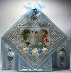 Anja Zom kaartenblog: juli 2013 Picture Cards, Vintage Cards, Marianne Design, Vintage Christmas, Holiday Cards, Christmas Holidays, Decorative Boxes, Pictures, Crafts
