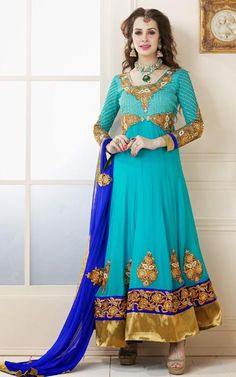 $110.84 Blue Embroidery and Stone Work Faux Georgette Anarkali Suit 26292