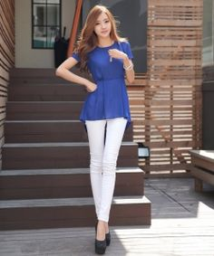 J74535 Korean Style Slim Personality Chiffon Shirt