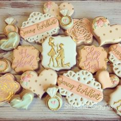 Engagement / Bridal Shower Cookies by Sifts and Giggles  He asked... She said YES! Love a mint , coral and gold wedding