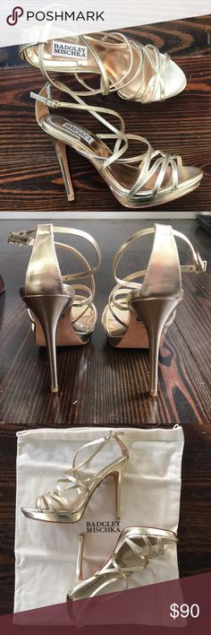 """Badgley Mischka Adonis II Platform Sandal Platino NEVER WORN - New in box. Size 6.5 gold metallic platform sandal with 4.75"""" heel and 1"""" platform. Leather sole and leather upper. Comes with extra heel tips and dust bag. The shoes are still selling on Amazon for $225! Prefect shoe for a fancy event/wedding. Badgley Mischka Shoes Platforms"""