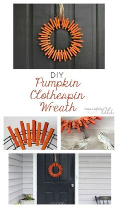 DIY Pumpkin Clothespin Wreath - Add a little fall harvest to your door with this… Fall Crafts, Holiday Crafts, Home Crafts, Diy Crafts, Diy Fall Wreath, Fall Wreaths, Wreath Ideas, Burlap Wreath, Fall Projects
