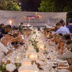Longride Langtafel 2016 – Longridge Wine Estate transformed the historical streets in front of the town hall of Stellenbosch into an elegant open-air dining venue. Gala Dinner, Town Hall, South Africa, Events, Entertaining, Wine, Table Decorations, Dining, Elegant