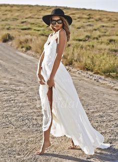 A-Line/Princess Sweetheart Sweep Train Chiffon Wedding Dress With Lace (0025060289) - Vbridal