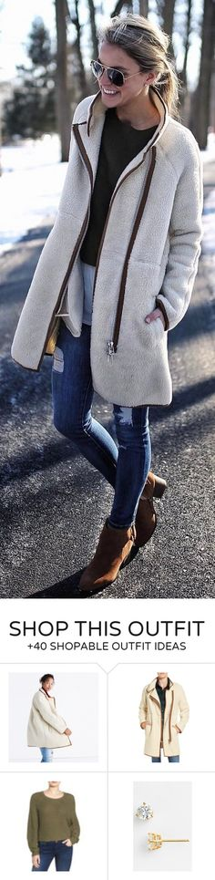 #winter #fashion / White Faux Fur Coat / Ripped Skinny Jeans / Brown Booties