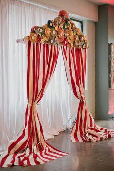 Vintage circus inspired backdrop. Photography by Megan Thiele Studios / meganthiele.com, Event Planning by Cosmopolitan Events / cosmopolitanevents.com, Floral Design by Sisters Floral Design Studio / sistersflowers.net