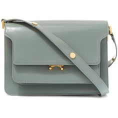 Marni Small Mint Green Trunk Calf Leather Shoulder Bag ($1,720) ❤ liked on Polyvore featuring bags, handbags, shoulder bags, marni handbag, zipper handbag, mint green purse, mint purse and calfskin handbag