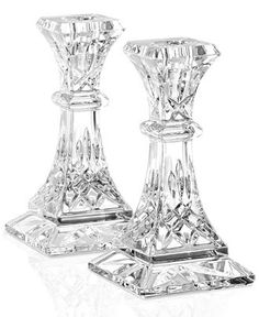 Waterford Crystal Gifts, Lismore Top Gifts Collection - Collections - For The Home - Macy's Waterford Crystal, Waterford Lismore, Crystal Glassware, Candle Holder Set, Candlestick Holders, Candlesticks, Candleholders, Jackson Hole, Bracelet Hermès