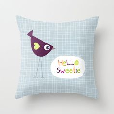 Kids throw pillow Hello Sweetie,  kids pillow case, kids decor, cushion cover, pillows, bedding, kids room, animal, nursery, baby nursery