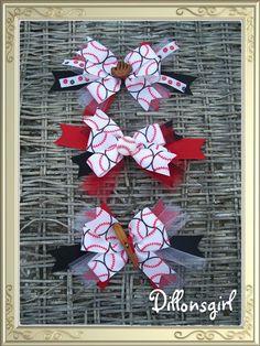 Baseball Softball Sports Hair Ribbon Bow by by dillonsgirl on Etsy, $5.00