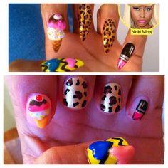 Nikki Minaj inspired, ice cream, leopard, lipstick, chevron stripes, 3d, hearts nail art, nails.