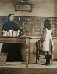 Math Class, 1889---Miss Lillian Pratt and her student In Sudbury, Mass.